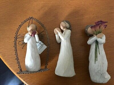 Willow tree figures x 3 - Angel of the Heart/ Bloom/ Sisters by Heart