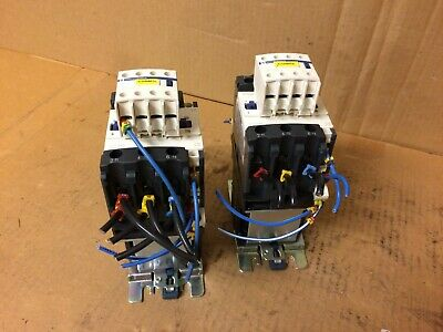 Lot of 2 Telemecanique LC1 D4011 Coil Starter Contactor w/ LADN40 Contact Block