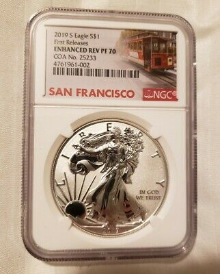 2019 S Enhanced Reverse Proof Silver Eagle , Ngc Rev Pf70 First Release