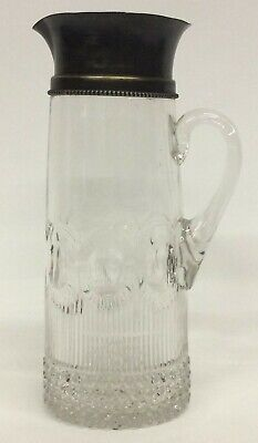 """12"""" ANTIQUE Glass Crystal Carafe Pitcher/ Decanter Silver Plate Top B25"""