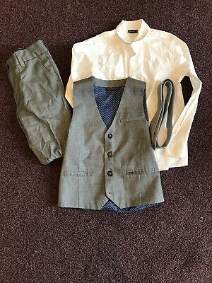 Next Boys Grey & White 4 Piece SuitAge 8 Yrs Wedding Party Occasional
