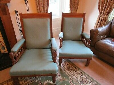 Pair of Edwardian Armchairs, his and hers. Antique vintage furniture