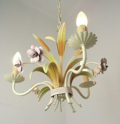 Vintage French 3 Arm Tied bouquet Tole Ware Chandelier Wheat Sheaf & Flower 1731