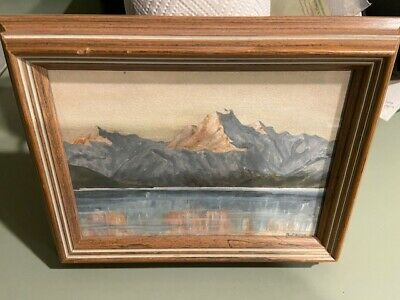 "Signed B Pryor California Mountain Watercolor painting framed 7.5x10""      x"