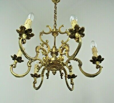 Stunning Antique French Bronze Baroque 6 Arm Acanthus Leaf Cage Chandelier 667