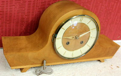 Antique Table Clock Shelf Mantel Clock MINIATURE  *JUNGHANS* with speaker