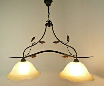 French Country Farmhouse Billiard Light Leaf Tole Ware Frame 2 Glass Shades 1592