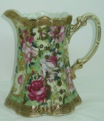 """Antique Nippon Beautiful 7"""" Tall Hand Painted Milk Pitcher with Gold Trim"""