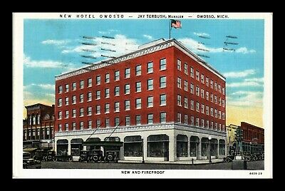 Us Linen Postcard New Hotel Owosso New And Fireproof Lodging Owosso Michigan
