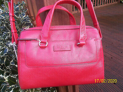 Red Radley Leather Tote Bag Or Shoulder/Across The Body Detachable Strap