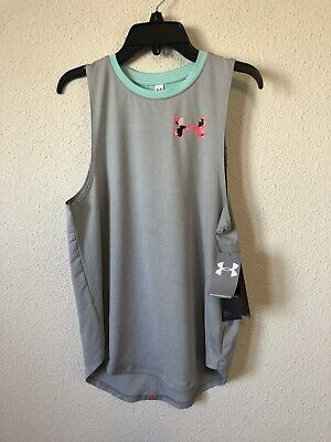 under armour girls youth tank top stretch teal gray YLG LARGE NEW $25 #K253