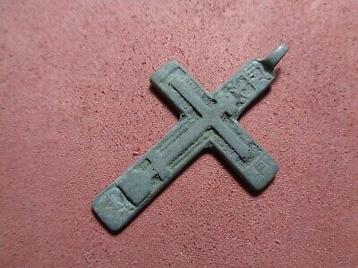 Russian empire old orthodox rare bronze pendant cross 1700-1800 AD original 282