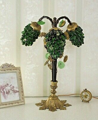 Rare Art Nouveau Lamp With 3 CZEC Grape Cluster Shades Green & Clear Glass 1727