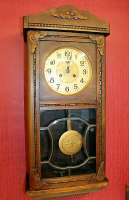 Antique Wall Clock Chime Clock Regulator 1920th century* handcarved