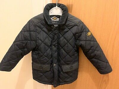 Next Boys Barbour Style Quilted Jacket Navy Blue - Age 2-3 Years