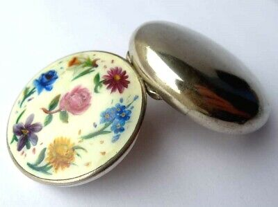 Antique Tin, Enamel Painting, Flowers, Silver Plated Brass, um 67oz227