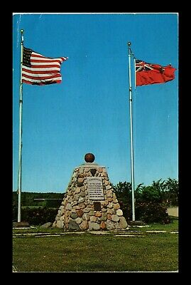 Us Postcard Flags At The Cairn Of United States And Canada
