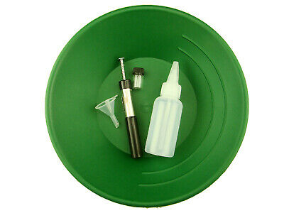 "10"" Green Gold Pan Kit  w/ Bottle Snuffer-Magnet-Vial-Funnel-Mining Panning ***"