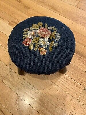 """Antique Floral Needlepoint 10"""" round Foot Stool 5"""" tall sturdy and all original"""