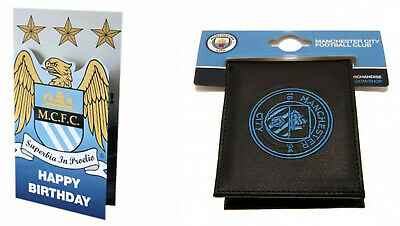 MANCHESTER CITY Retro Birthday Card & Football Club Crest Leather Wallet New