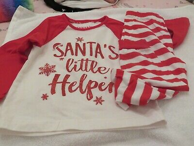 Pj's Long Sleeve Long Bottoms 2-3 M&S Matalan Santas Little Helper