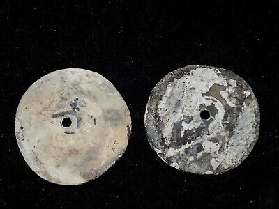 Pre-Columbian Shell Disc Pendants, Pair, Mayan