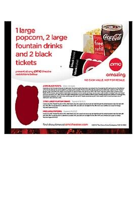 AMC Theaters 2 Black Tickets, 2 Drinks, 1 popcorn (PURCHASE LIMIT 2)