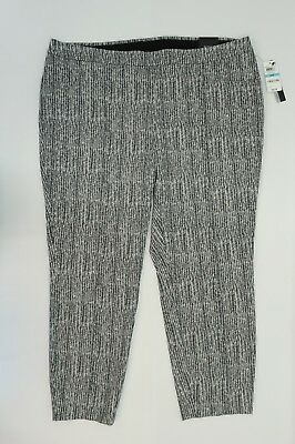 Alfani Plus Size Womens Pants Herringbone Print Black White Ankle Pants 20 W $84