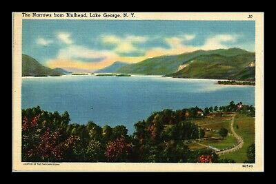 Us Linen Postcard The Narrows From Blufhead Lake George New York