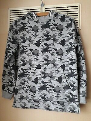 Kids Boys Girls Hoodie 11 12 Camo Grey Black Camouflage Army Military Primark...