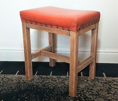 Antique Solid Pine Wood Occasional Stool Footstool With Orange Leather Seat