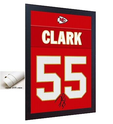 Frank Clark Kansas City Chiefs NFL signed printed on 100% COTTON Canvas FRAMED