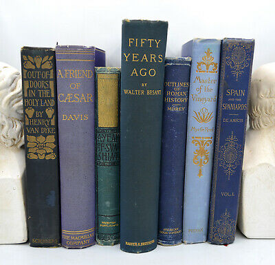 Lot of (7) Decorative Vintage Hardcover Books with Blue Spines (1886-1910)