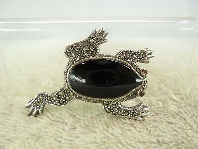 Art Deco Style Solid Silver Marcasite Onyx Stone Eyed Frog Brooch