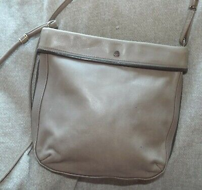 Assima Creation taupe beige soft leather cross body shoulder bag