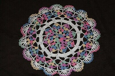New Hand Crocheted Doily - pastel multicolor white Easter
