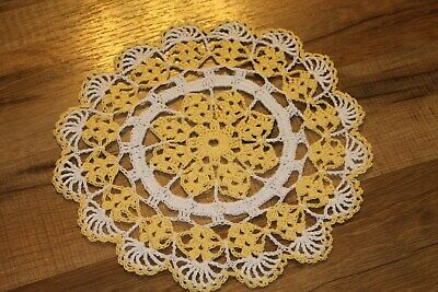 New Hand Crocheted Doily - maize (yellow) white spring Easter