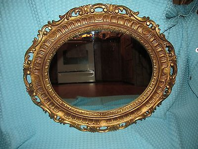 Vtg Lg Hollywood Regency Ornate French Provincial Oval Wall Mirror~60's ERA