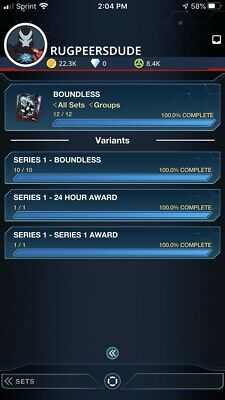 Topps Marvel Collect Boundless Series 1 Set + Both Awards 24 Hour Digital Cards