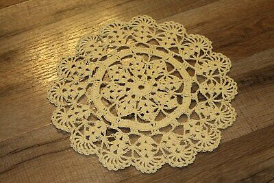 New Hand Crocheted Doily - maize (yellow) spring Easter