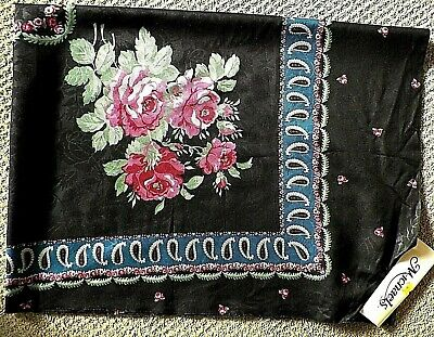 DIY Fabric Panel Table Topper or Scarf 34 x 44 Pink Roses On Black Vintage