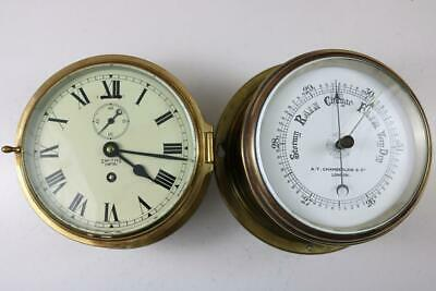 SHIPS BULKHEAD WALL CLOCK & BAROMETER good matched pair SMITHS & CHAMBERLAIN