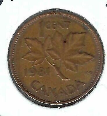 1981 Canadian Circulated  One Cent Elizabeth II Coin!