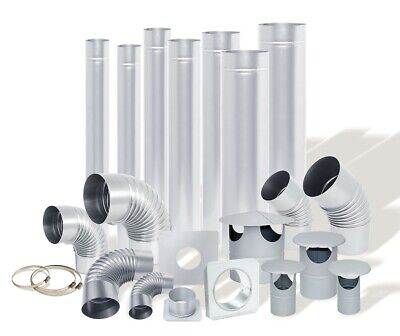 Steel Flue Pipes, Bends, Cowls, Wall Brackets - Uk Seller - Fast Delivery