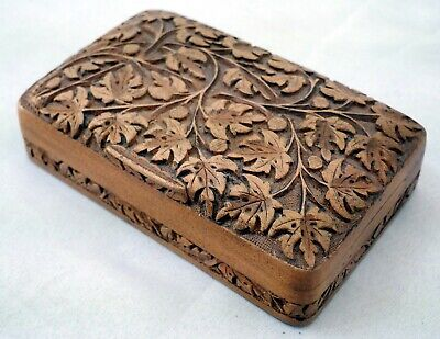 Small Handcarved Floral Design Indian Wooden Box