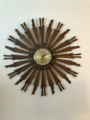 AWESOME Westwood  MCM Mid century All Brass Starburst Sunburst wall clock WORKS