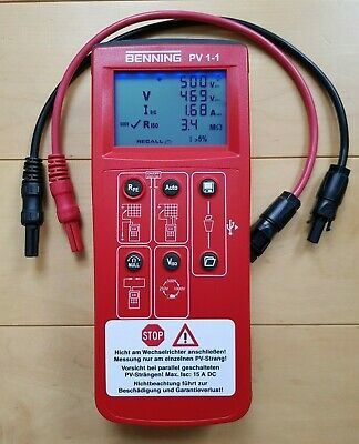 Benning PV 1-1 Solar PV Test Meter with Sunclix Leads