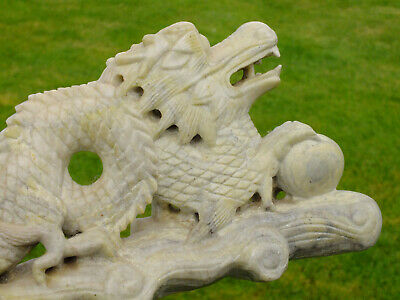 Vintage Chinese Soapstone Dragon & Pearl, Green Colour, Well Carved