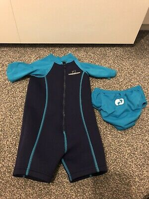 two bare feet baby wetsuit And Swim Nappy Small 12-18 Months Boys Used Once