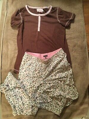 SO HEAVENLY Pink And Brown Crop Lounge Pants Pajama Set Sz S SOFT!